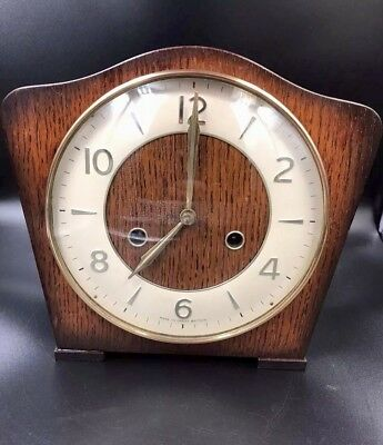 Smiths Art Deco Mantel 8 Day Striking Clock - Great Cosmetic Condition