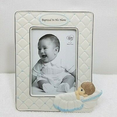 "Precious Moments Baptized In His Name Baby Boy Photo Picture Frame 4"" x 6"" New"
