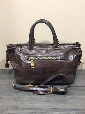 8b45a92d8688 Auth PRADA Milano Brown Vintage Leather Tote Bag Shoulder Strap Handbag  Italy