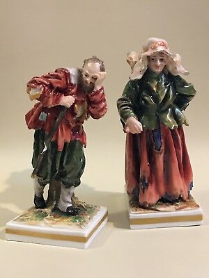 Pair Of Antique German Volkstedt Beggar Porcelain Figurines, Rare!