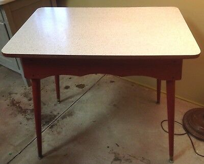 MID CENTURY Vintage Sparkle FORMICA & Red WOOD Kitchen Breakfast Table RETRO