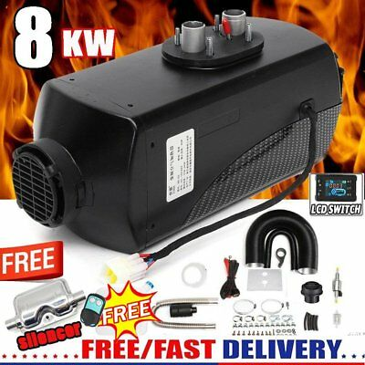 8KW 12V Diesel Air Heater 10L Tank LCD Switch Remote + Silencer + Air Filter QU