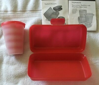 Tupperware Back to School Tumbler and Sandwich Set Neon Pink New