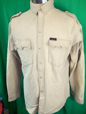 Vintage USA Made Light Tan Brown Cotton Twill Dee Cee Western Cowboy Shirt M