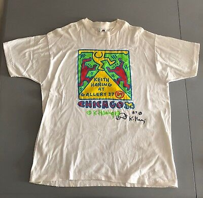 Keith Haring t-shirt 1989 signed Chicago