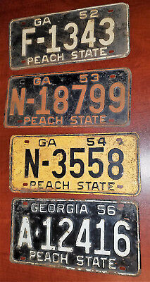 Vintage auto license tags Georgia authentic AS-IS 1952 1953 1954 1956 GA TECH