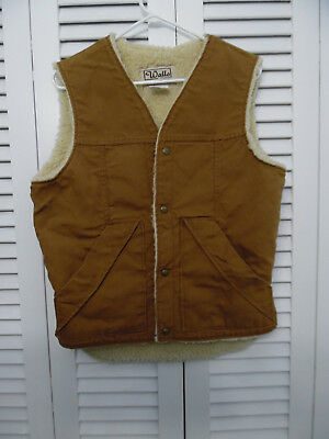 Vintage WALLS Blizzard Pruf Canvas Vest Sherpa Lined, Size M  Good  cond Vintage