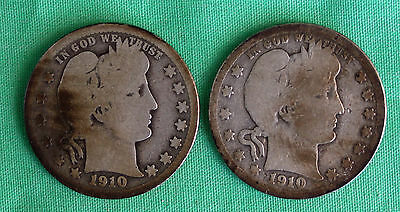 1910 and 1910 D Silver Barber Quarters US Type Coins 25c Avg Circ 2 Coin Lot