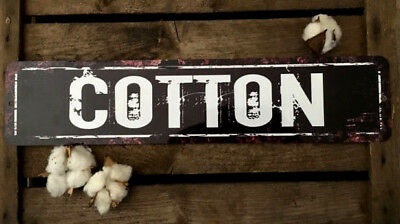 Vintage COTTON METAL Sign Primitive Distressed Look Country Antique NEW 18""