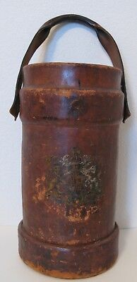 Vintage Antique English Leather Fire Bucket W/ Coat Of Arms Bh &g No 58 Iii