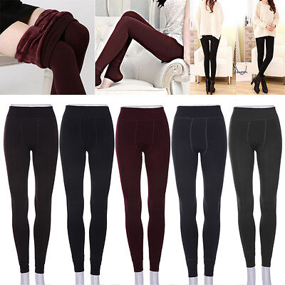 Women Warm Thick Fleece Fur Lined Thermal Leggings Solid Stretch Winter Pants G7