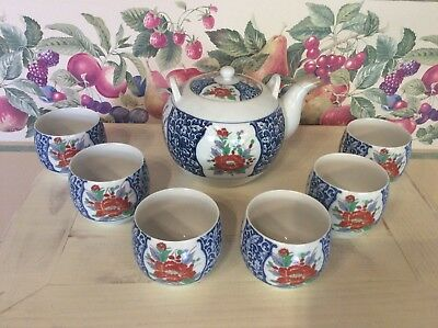 Vintage Asian Japanese Teapot Set OMC Porcelain 6 Saki Tea Cups blue NO handle