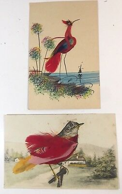 VINTAGE POSTCARD lot of 2 birds REAL FEATHERS,  ROBIN FOREIGN & CRANE-MEXICO