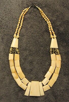 RARE Vintage 1920s EGYPTIAN REVIVAL Two Strand Necklace Made of Real Bones