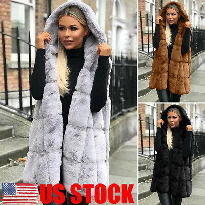 US Womens Faux Fur Vest Sleeveless Waistcoat Hooded Long Jacket Coat Outwear