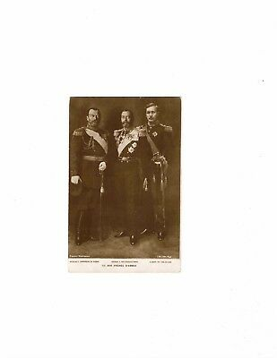 World War I postcard Tsar Nicholas II Russia George V UK Albert I Belgium Unused