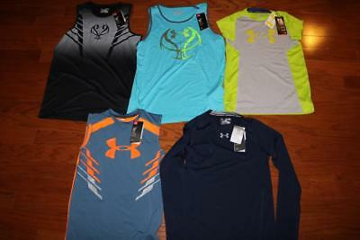 Lot 5 Under Armour Heatgear Boys Athletic Shirts Sleeveless Tank Top Xl $130 Nwt