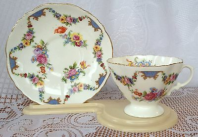 Hammersley # 472 Floral Garlands with blue and gold Tea Cup & Saucer - (498)