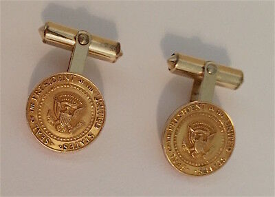 PRESIDENTIAL CUFFLINKS  PERSONAL GIFT from LYNDON B JOHNSON 10k GOLD FILLED