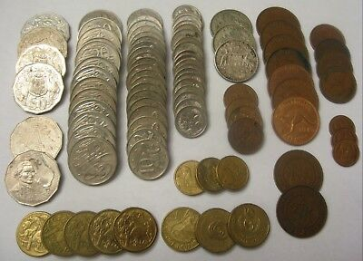 Large Lot of Mixed Coins From Australia Dated 1924-2008 Some Silver