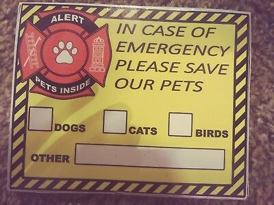 In Case Of Emergency Please save our Pets Dog Cat Pet Rescue Alert Sign 4×5