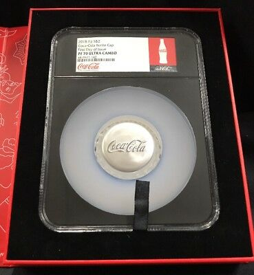 2018 Fiji $2 Coca-Cola Bottle Cap 1oz Silver Coin First Day Issue PF 70 NGC