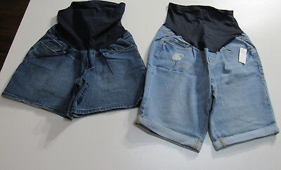 Maternity Blue Jean Shorts Lot of 2 Old Navy & Oh Baby : Size 6 & Medium :1401