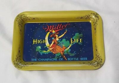 Miller High Life Beer Girl On Moon Metal Tip Tray vintage new old  Stock
