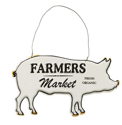 FARMERS MARKET Pig Shape Metal Sign Country Prim Distressed NWT 8 x 4