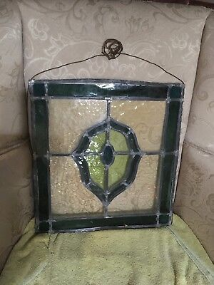 """Green & Clear Stained Glass Hanging Window Panel Approx 17.5"""" x 16"""""""