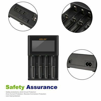 GOLISI 4 Slots Smart LCD Rechargeable Battery Charger for AA & AAA Ni-MH Ni- NQ
