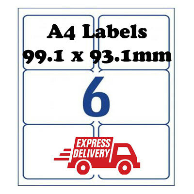 A4 Self Adhesive Address Labels Laser Inkjet Print Mailing Stickers 6 Per Sheet
