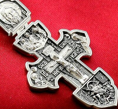 Big Russian Greek Orthodox Crucifix,silver 925. Holy Trinity St.george. Saints