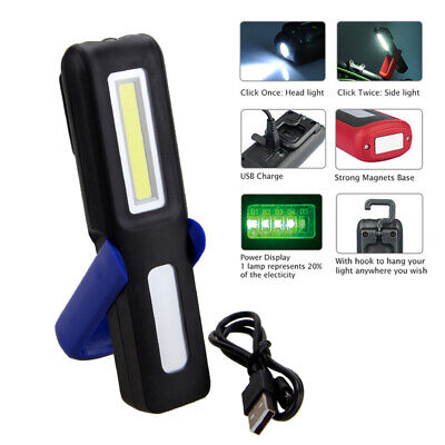 Magnetic LED COB Inspection Lamp Work Flashlight Light Rechargeable USB Torch US