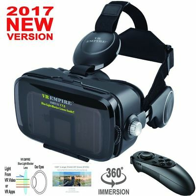 VR EMPIRE 3D VR Headset With Wireless Remote Controller; Anti-Blue-Light Lenses;