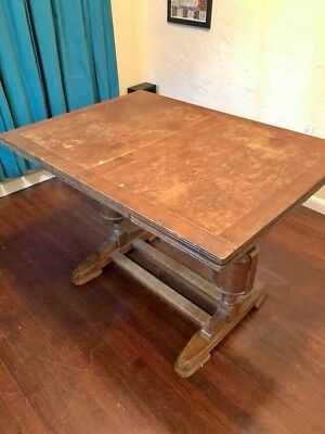 Antique English Draw Leaf Trestle Dining Table