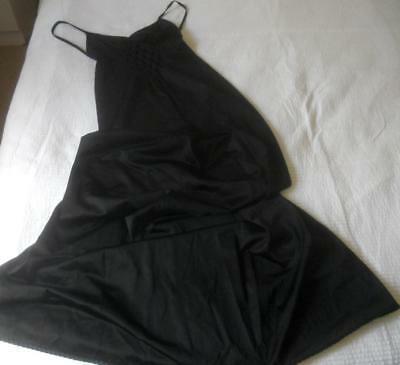 Vintage 1970S Hickory Scamp Black Nylon Strappy Long Nightie Honeycomb Front 12