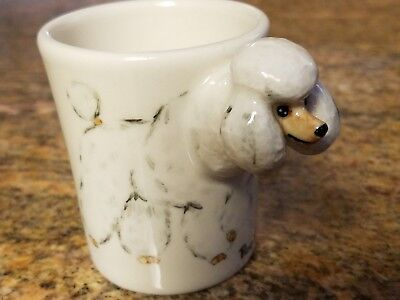 Poodle, White. Espresso Coffee cup 3 D by Blue Witch,1 Left! Includes saucer.New