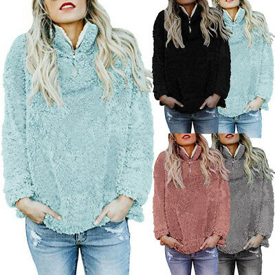 Casual  Women Warm Sweater Fluffy Winter Lady Zip Up Shirt Pullover Outwear Tops