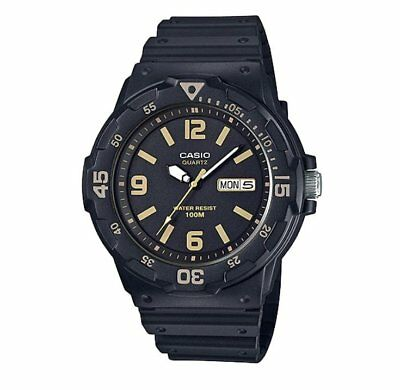 MRW-200H-1B3 Casio Men's black Rubber Strap Day Date 100M Analog Sports Watch