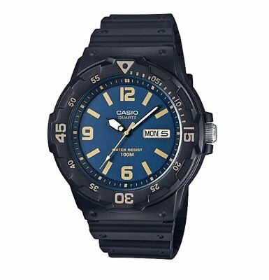 MRW-200H-2B3 Casio Men's black Rubber Strap Day Date 100M Analog Sports Watch
