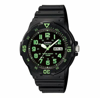 MRW-200H-3B Casio Men's black Rubber Strap Day Date 100M Analog Sports Watch