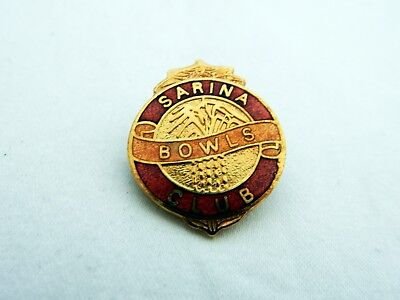 Vintage Retro Sarina Bowls Club Enamel Badge Pin