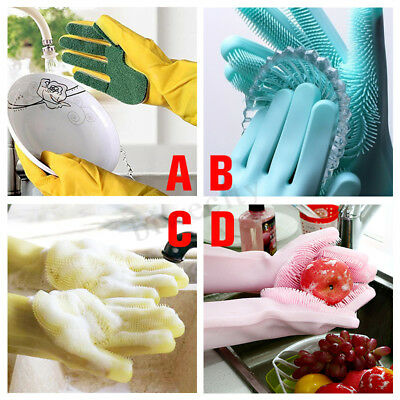 2Pc Magic Silicone Reusable Gloves Cleaning Brush Scrubber Heat Resistant Unisex