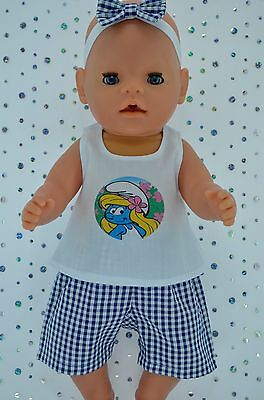 "Play n Wear Doll Clothes To Fit 17"" Baby Born GINGHAM PANTS~TOP~HEADBAND"