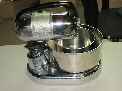 Dormeyer 10 Speed Mixer Silver--Chief Model 4300 With 2 Bowls