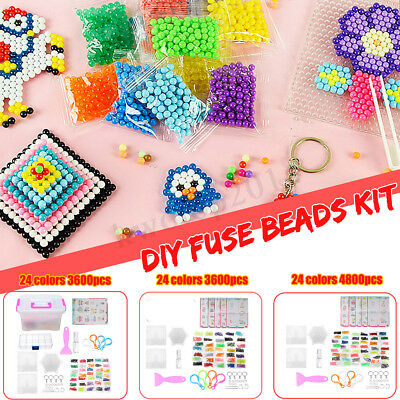 3600/4800Pcs 24 Colors DIY Fuse Beads Water Sticky Beads Art Craft Toys Kids