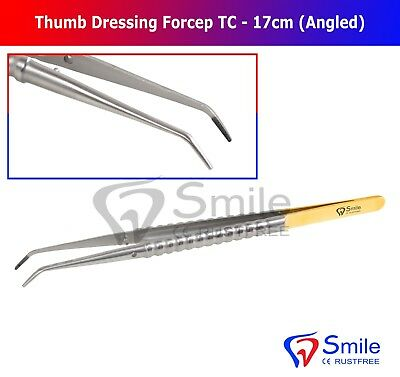Smile® Thumb Tissue Dressing Forceps 17cm Curved TC Blunt Tip Gold Plated UK NEW