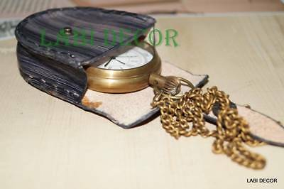 Vintage Brass Watch Pocket Nautical Leather Collectible Case Steampunk Fashion