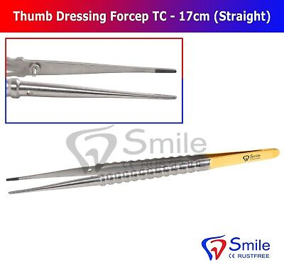 Smile® Thumb Tissue Dressing Forceps 17cm Straight TC Blunt Tip Gold Plated UK